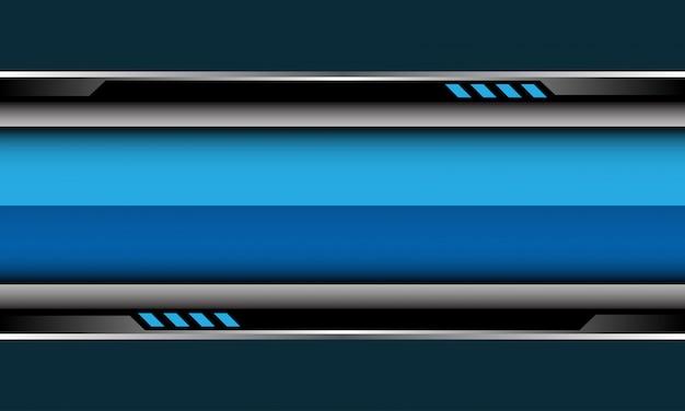 Blauer glänzender banner silberne schwarze cyberschaltung auf grauem futuristischem hintergrund.
