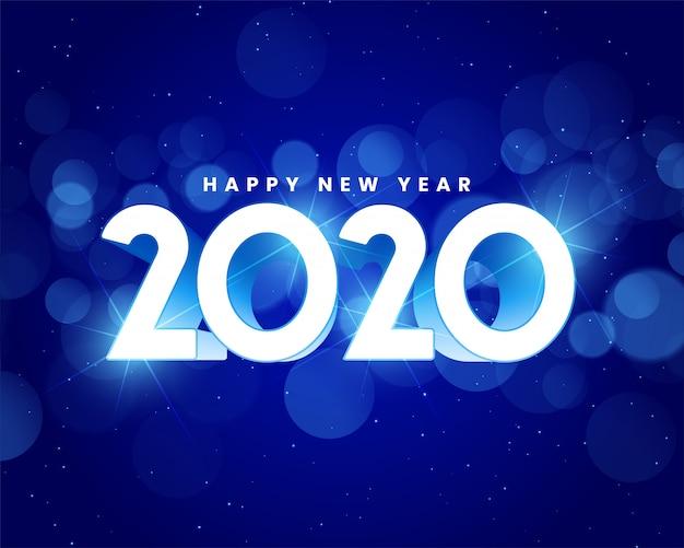 Blauer glänzender hintergrund des guten rutsch ins neue jahr 2020