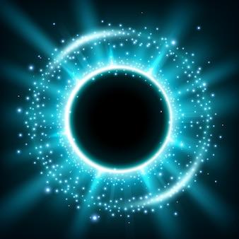 Blauer glänzender kreisrahmen mit funkelnden staubpartikeln
