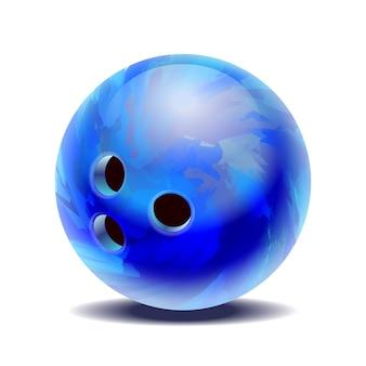 Blauer glänzender mehrfarbiger bowlingball auf weißem hintergrund. illustration
