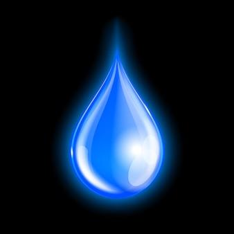 Blauer glänzender wassertropfen auf dunklem hintergrund. illustration