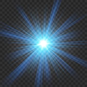 Blauer glanz im dunklen hintergrund in der ausschnittsmaske