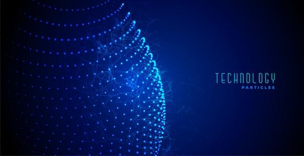 Blauer glühender partikelhintergrund der digitaltechnik-zusammenfassung