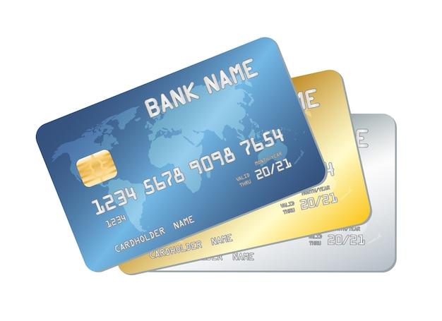 Blauer goldsilberkreditkartenvektor