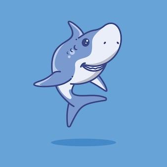Blauer hai schwimmen cartoon-vektor-illustration tier meer symbol im flachen cartoon-stil