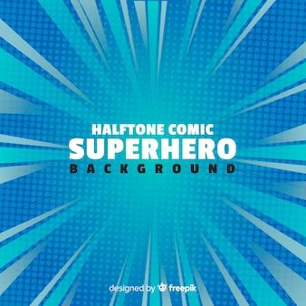 Blauer halbton-superheldhintergrund