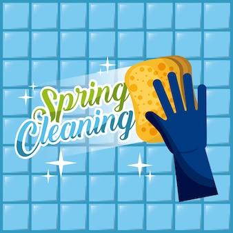 Blauer handschuh des frühjahrsputzes