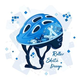 Blauer helm mit geometrischem muster für superscooter.
