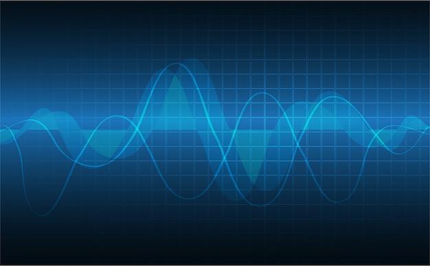 Blauer herzimpulsmonitor mit signal