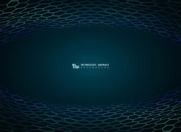 Blauer hexagon-technologiehintergrund der abstrakten steigung.