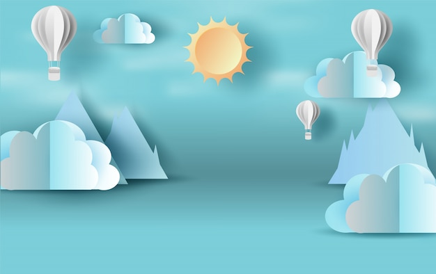 Blauer himmel der szene mit cloudscape-ballonen