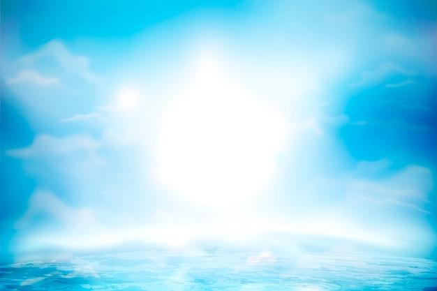 Blauer himmel mit flauschigen wolken und ozeanoberfläche