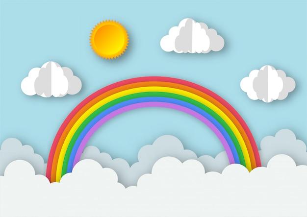 Blauer himmel mit regenbogenhintergrund. papierkunststil.