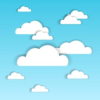 Blauer himmel mit weißbuch bewölkt sommer cloudscape-hintergrund