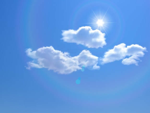 Blauer himmel mit wolken und sonne vektorhintergrund