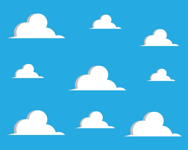 Blauer himmel mit wolkenhintergrund-vektorillustration