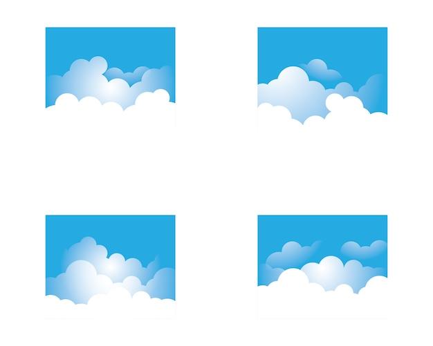 Blauer himmel mit wolkenikonen-illustrationsdesign