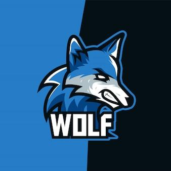 Blauer himmel wolf e-sport maskottchen logo