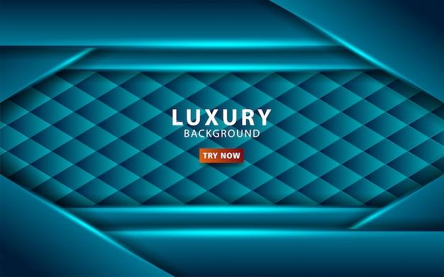 Blauer hintergrund der abstrakten luxustechnologie mit blauer linie überlappungsschichten mit papiereffekt. digitale vorlage. realistischer lichteffekt auf strukturierten hexagonhintergrund. .