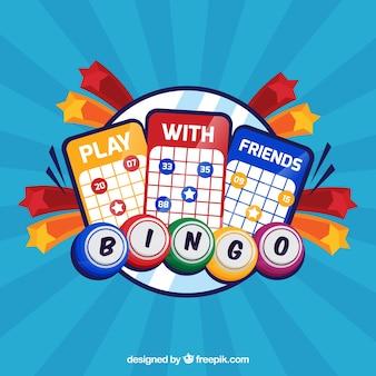 Blauer hintergrund der bingo stimmzettel