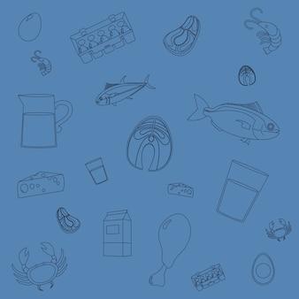 Blauer Hintergrund der gesunden Lebensmittelkarikaturen