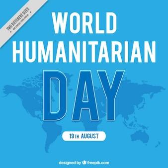Blauer hintergrund der humanitären tag mit karte