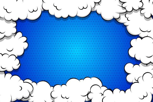 Blauer hintergrund der karikatur-blätterteigwolke für textschablone