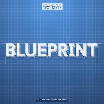 Blauer hintergrund der rauen skizze des planes mit weißem texteffektalphabetbuchstabe-guss-sammlungssatz