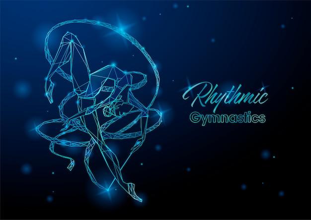 Blauer hintergrund der rhythmischen gymnastik