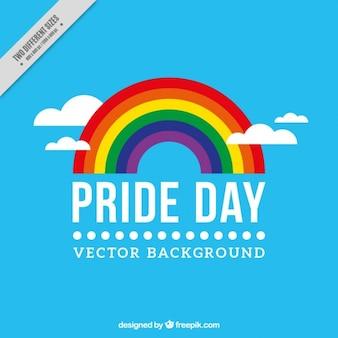 Blauer hintergrund der stolz tag mit einem regenbogen