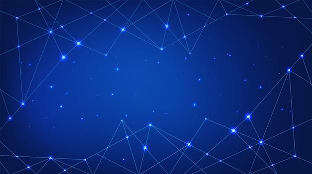Blauer hintergrund der technologie. digitales abstraktes netzwerk.