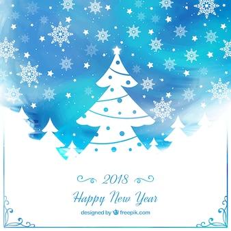 Blauer hintergrund des aquarellneuen jahres mit einem weihnachtsbaum