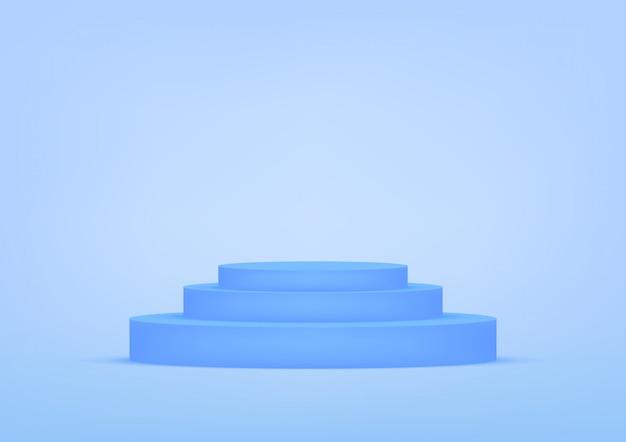 Blauer hintergrund des leeren podeststudios für produktanzeige mit kopienraum.