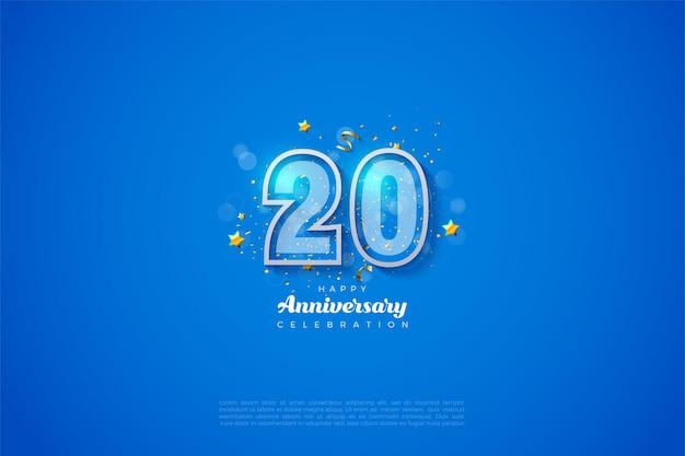 Blauer hintergrund für den 20. anivversary mit weiß gestreiften zahlen an den rändern