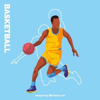 Blauer hintergrund mit basketball-spieler