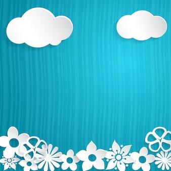 Blauer hintergrund mit blumen und wolken aus weißem papier ausgeschnitten