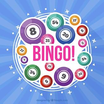 Blauer hintergrund mit bunten bingo bälle