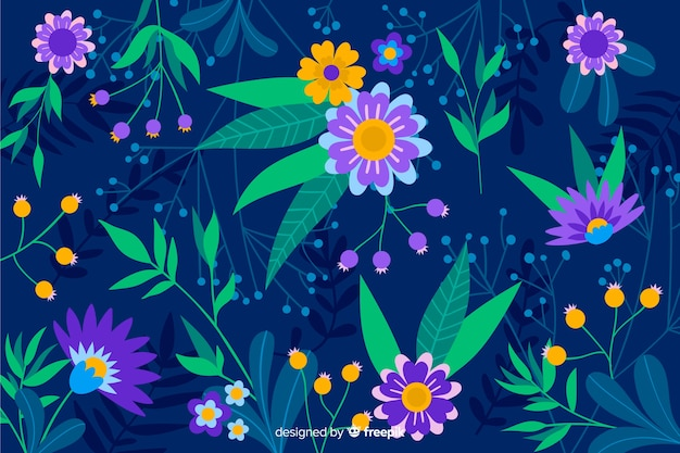 Blauer hintergrund mit den purpurroten und gelben blumen
