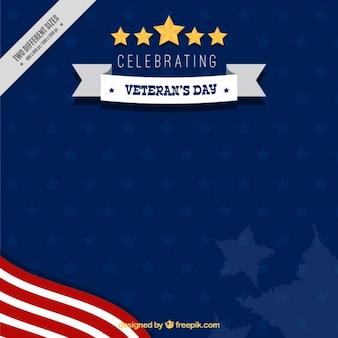 Blauer hintergrund mit flagge der vereinigten staaten für veteranen-tag