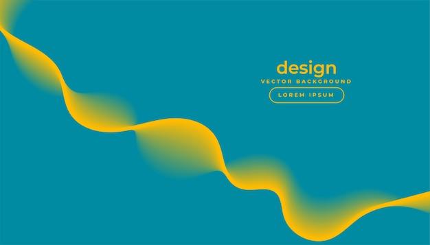 Blauer hintergrund mit fließendem gelbem wellenentwurf