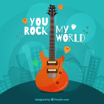 Blauer hintergrund mit gebäuden und e-gitarre