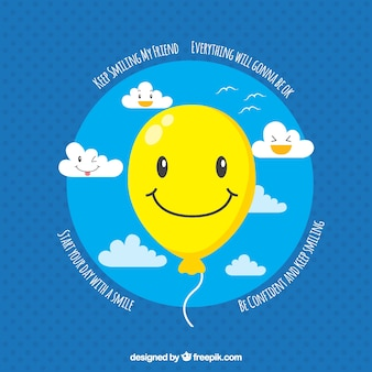 Blauer hintergrund mit gelben ballon lächelnd