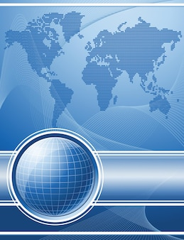 Blauer hintergrund mit globus und weltkarte