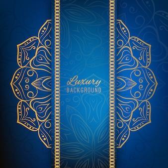 Blauer hintergrund mit goldenen mandala-design