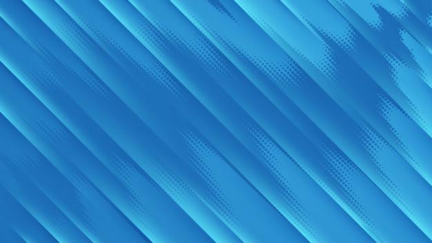 Blauer hintergrund mit hellen dunklen diagonalen linien und halbtonpunkten.
