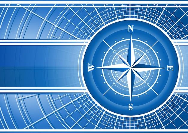 Blauer hintergrund mit kompassrose.