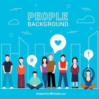 Blauer Hintergrund mit Menschen