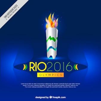 Blauer hintergrund mit olympischen fackel