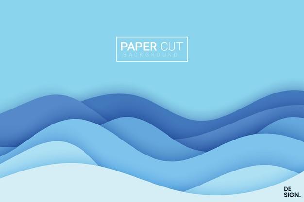 Blauer hintergrund mit papierschnittart