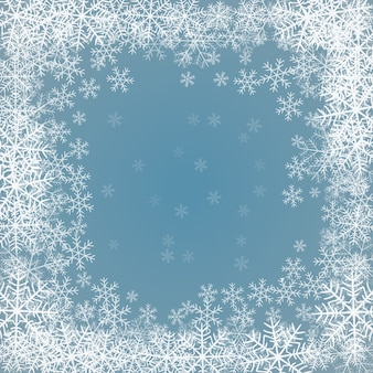 Blauer hintergrund mit rahmen von schneeflocken